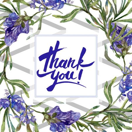 Purple lavender. Thank you handwriting monogram calligraphy. Floral botanical flower. Wild spring leaf. Watercolor background illustration set. Frame border square. 스톡 콘텐츠