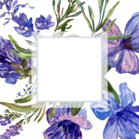 Purple lavender. Floral botanical flower. Wild spring leaf. Watercolor background illustration set. Frame border square. Banque d'images - 113293327
