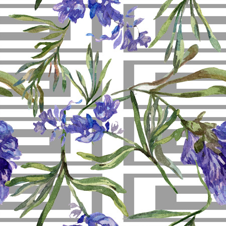 Purple lavender. Floral botanical flower. Seamless background pattern. Fabric wallpaper print texture. Hand drawn watercolor background illustration set.
