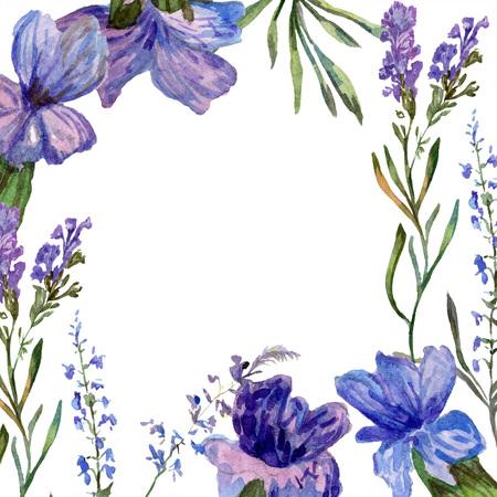 Purple lavender. Floral botanical flower. Wild spring leaf. Watercolor background illustration set. Frame border square. Banque d'images - 113293453