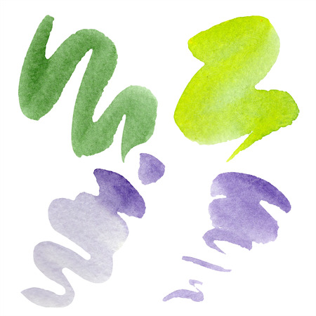 Green, lime and purple abstract watercolor paper splash shapes isolated drawing. Abstract aquarelle for background, texture, wrapper pattern. Stock Photo