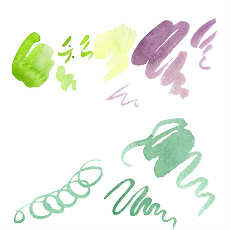 Abstract green, yellow and purple aquarelle splash for background, texture. Watercolor background illustration set. Aquarelle hand drawing isolated stain.