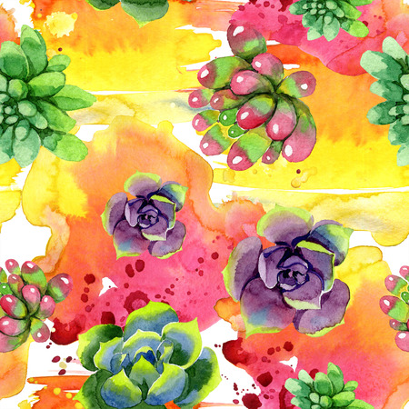 Amazing succulent. Floral botanical flower. Watercolor background illustration set. Seamless background pattern. Fabric wallpaper print texture.