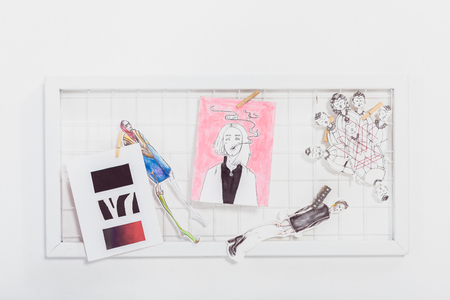 Mood board with fashion sketches and illustrations 스톡 콘텐츠