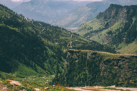 majestic mountains covered with green trees in Indian Himalayas, Rohtang Pass