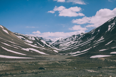 beautiful valley and snow capped mountains in Indian Himalayas, Ladakh region