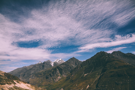beautiful scenic landscape of majestic mountains in Indian Himalayas, Rohtang Pass 写真素材