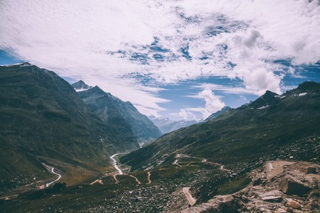 beautiful mountain landscape with scenic valley and river in  Indian Himalayas, Rohtang Pass