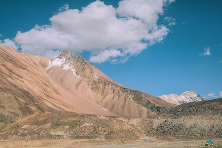 beautiful mountain landscape and blue sky with clouds in Indian Himalayas, Ladakh region Stock Photo