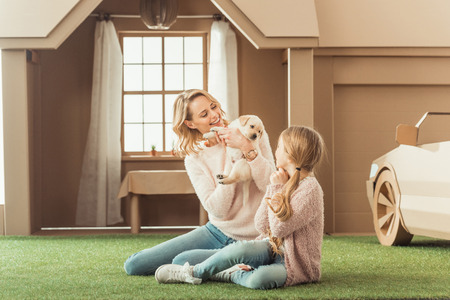 beautiful mother and daughter playing with adorable labrador puppy in front of cardboard house Stock fotó - 114249215