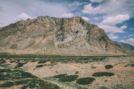 huge rock and mountain valley in Indian Himalayas, Ladakh region Stock Photo