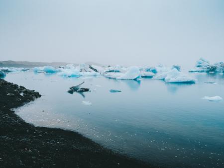 beautiful blue landscape with melting glacier lagoon Jokulsarlon in Iceland Фото со стока