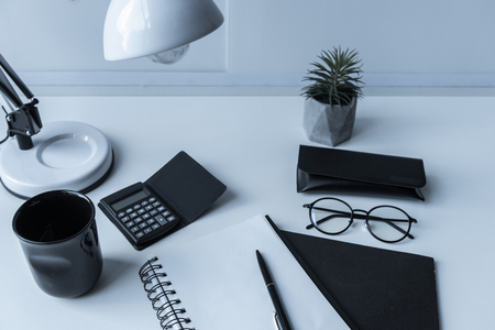 working place with table lamp and plant