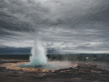Eruption of geysir Strokkur at Haukadalur area in south Iceland