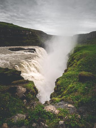 big majestic Gullfoss waterfall in mountains, Iceland