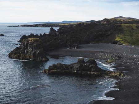 scenic view of coastline with dark cliffs, Dritvik Djupalonssandur, Iceland