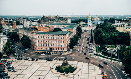 aerial view of old central district of Kiev city, Ukraine