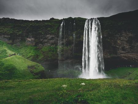 majestic landscape with Seljalandsfoss Waterfall on Seljalandsa river, in Iceland