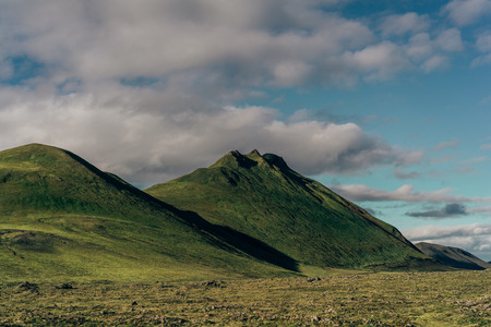 beautiful landscape with green hills in Iceland