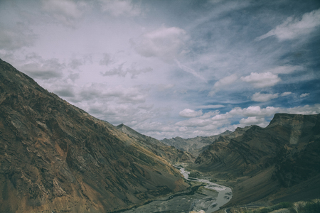 beautiful mountain valley with river and scenic landscape in Indian Himalayas, Ladakh region
