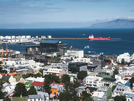 arial view of Husavik city and beautiful ocean, Iceland Stock Photo - 114326517