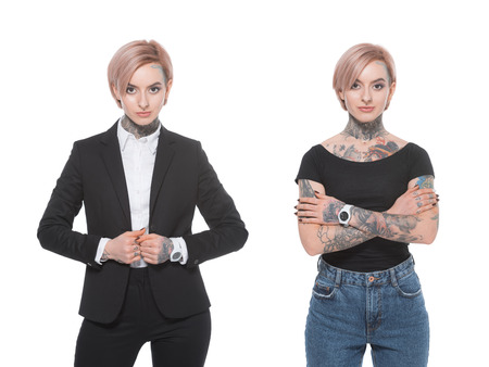 collage with stylish tattooed girl and businesswoman, isolated on white Imagens