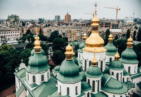 aerial view of Kiev Pechersk Lavra church against beautiful city, Ukraine Reklamní fotografie - 114326856