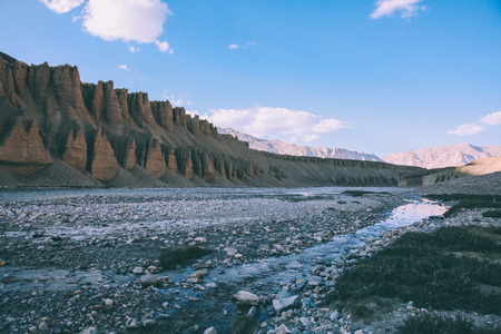 beautiful natural formations and rocky mountain river in Indian Himalayas, Ladakh region 스톡 콘텐츠