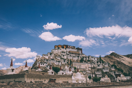 traditional houses and stupas in Leh city, Indian Himalayas 写真素材
