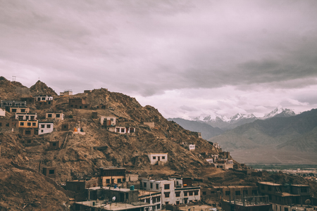 Leh town cityscape in Indian Himalayas Stock Photo