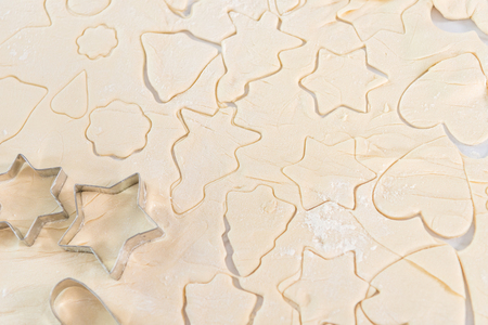 close-up view of raw dough with various forms for cookies Stok Fotoğraf
