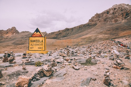 nakeela sign and rocks in mountain valley in Indian Himalayas, Ladakh region Stock Photo