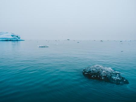 beautiful blue landscape with melting glacier ice, Jokulsarlon in Iceland Фото со стока
