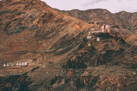 beautiful rocky mountains with traditional architecture in Indian Himalayas, Ladakh region 写真素材