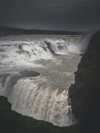 landscape with big majestic Gullfoss waterfall in mountains, Iceland