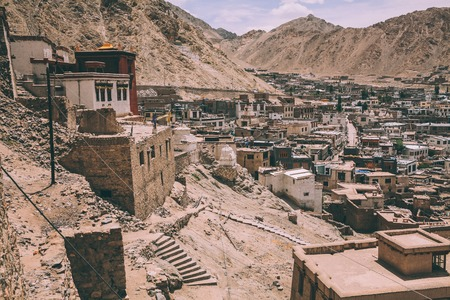 traditional ancient buildings in Leh, Indian Himalayas