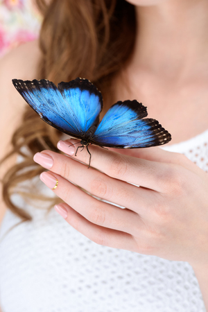 cropped shot of woman with blue butterfly on hand 写真素材