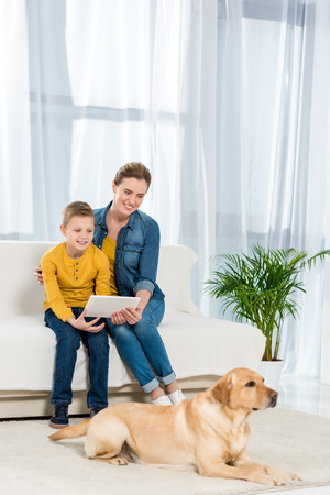 mother and son using tablet together with dog lying on floor on foreground Stock Photo