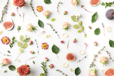 pink flowers, petals and figs isolated on white