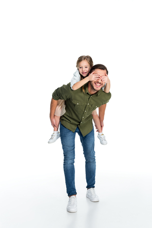 happy father and daughter piggybacking together isolated on white