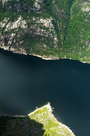 aerial view of river and majestic Norwegian mountains
