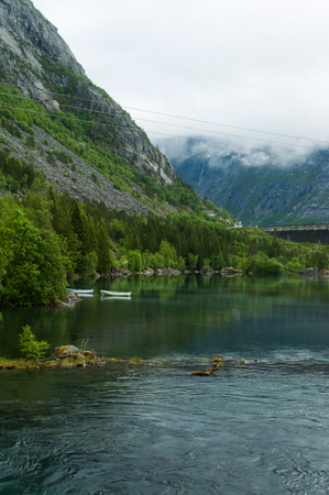 river and majestic Norwegian mountains