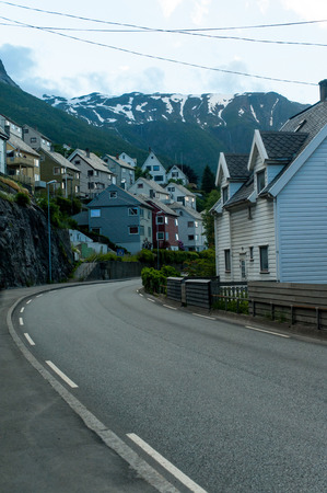 beautiful landscape view of buildings and mountains in Norway Banco de Imagens