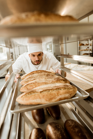handsome baker putting trays of fresh bread on stand at baking manufacture Фото со стока