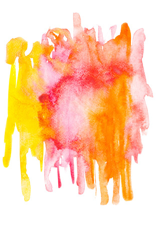 Abstract painting with red, pink, orange and yellow watercolour paint blots and strokes on white Stock Photo