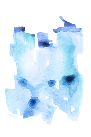 Abstract painting with blue watercolor paint strokes on white Stock fotó