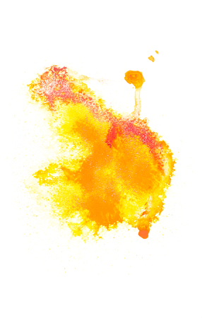 Abstract painting with red and yellow paint spots on white Stock Photo - 114406562