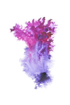 Abstract painting with dark blue and purple paint blots on white