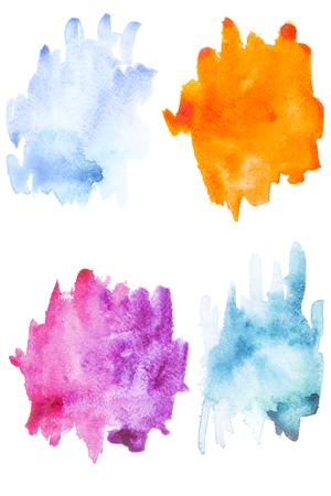 Abstract painting with blue, purple and orange paint blots and strokes on white Stock Photo - 114406576