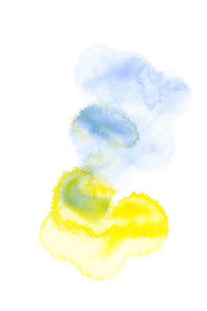 Abstract painting with blue, yellow and green paint blots on white Stock fotó